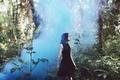 Картинка туман, девушка, платье, лес