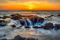 Картинка прибой, побережье, Oregon, море, небо, горизонт, закат, камни, США