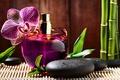 Картинка духи, флакон, бамбук, черные, цветок, массажные, базальтовые, парфюм, spa, орхидея, спа, камни