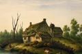 Картинка poor, cow, river, bank, house, Watercolor, circa 1850