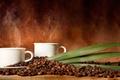 Картинка кофейные зёрна, кофе, дымок, чашки