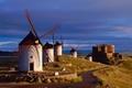 Картинка дорога, замок, мельницы, испания