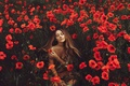 Картинка Девушка, природа, маки, цветы