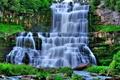 Картинка водопад, камни, деревья, трава, пороги