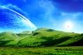 Картинка планеты, вид, горы, зелень, водопад, ландшафт, река