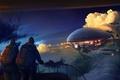 Картинка облака, дирижабль, люди, Рисунок, 158