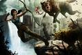 Картинка Лара Крофт, Tomb Raider, девушка, арт, Lara Croft, волки, лук