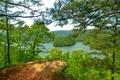 Картинка лес, лето, небо, деревья, горы, озеро, сша, Arkansas