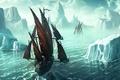 Картинка 152, корабль, рисунок, айсберг, Kerem Beyit, льды