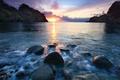 Картинка море, вечер, обои от lolita777, пейзаж, скалы, камни, закат