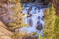 Картинка деревья, камни, скалы, водопад, Вайоминг, Wyoming, Yellowstone National Park, Йеллоустон, Firehole Falls