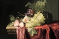 Картинка картина, натюрморт, фрукты, персики, Альст, виноград