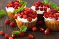 Картинка cream, земляника, десерт, dessert, сладкое, ягоды, sweet, cupcake, кекс, пирожное