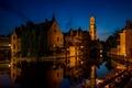 Картинка огни, ночь, Фландрия, Брюгге