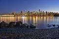 Картинка город, огни, река, дома, вечер, утро, Vancouver