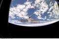 Картинка космос, облака, Земля, МКС