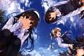 Картинка небо, девочки, арт, форма, школьницы, misaki kurehito, вид снизу