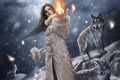 Картинка Магия огня, девушка, волки, зима, фентези