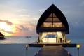 Картинка лодка, Мальдивы, пляж, море, бунгало, небо, острова, закат