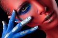 Картинка стиль, взгляд, краски, фон, рука, лицо, цвета, девушка