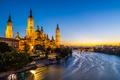 Картинка огни, река, Испания, Базилика-де-Нуэстра-Сеньора-дель-Пилар, Сарагоса