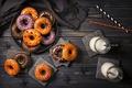 Картинка milk, праздник, выпечка, молоко, сладкое, Halloween, Хеллоуин, sweet, Baking, пончики, donuts
