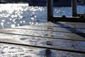 Картинка блики, солнце, причал, отражение, вода, боке