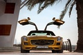 Картинка Mercedes benz, sls amg desert gold edition, пальма, двери, золотой