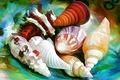 Картинка море, линии, краски, раковина, ракушки