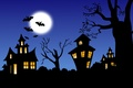 Картинка Хеллоуин, замок, луна, ночь, летучие мыши