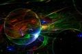 Картинка цвет, лучи, свет, объем, шар, круг, линии