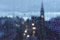 Картинка raining, glass, cityscape, drops