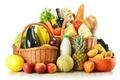 Картинка картофель, перчик, вино, капуста, корзины, хлеб, зелень, бутылки, баклажан, продукты, дыня, яйца, сыр, фрукты, ананас, ...