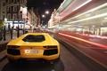 Картинка Lamborghini, aventador, yellow, ночь, night, зад