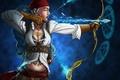 Картинка девушка, лед, стрела, пентаграмма, пиратка, лук
