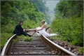 Картинка свадьба, ситуации, жених и невеста на рельсах, обои, фон