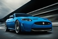Картинка Автомобиль, машина, ягуар, синий, движение, дорога, car