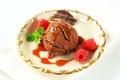 Картинка малина, шоколад, шарик, мороженое, мята, сладкое, Chocolate, dessert, raspberry, Ice cream, Sweets