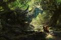 Картинка солнечный луч, horseman, рыцарь, арт, древний дракон, by MikeAzevedo, ancient dragon, rider, art, рисунок, wood, ...
