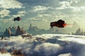Картинка космический корабль, полёт, небо, скалы, планета, облака