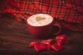Картинка салфетка, чашка, красные, конфеты, сердечки, капучино, кофе, красная, сердца