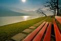 Картинка Швейцария, парк, горы, солнце, скамья, Люцернское озеро, Фирвальдштетское озеро