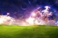 Картинка поле, небо, трава, космос, облака, свет, фантастика, луна, планета, луг, красиво, space, grass, sky, field, ...