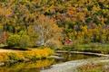 Картинка осень, дом, река, лес, горы