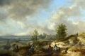 Картинка картина, лодка, мост, люди, всадник, холмы, лошадь, река, пейзаж