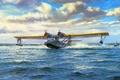 Картинка рисунок, морской патрульный бомбардировщик, летающая лодка, Consolidated PBY Catalina