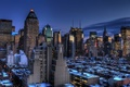 Картинка нью-йорк, Manhattan, new york, usa, Blue Hour, Midtown