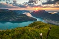 Картинка Швейцария, Альпы, горы, Switzerland, Lake Lucerne, панорама, озеро, Фирвальдштетское озеро, Alps, Люцернское озеро, закат