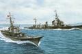 Картинка корабль, арт, флот, военный, японский, эсминец, противолодочный, WW2, destroyer, IJN, Shimakaze, submarine chaser, No.46