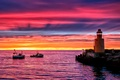 Картинка пирс, берег, море, катера, вечер, сумерки, причал, океан, Маяк, закат